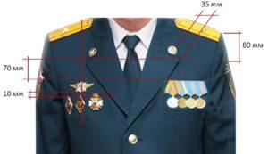 область для медалей на кителе